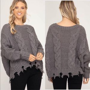 Sweaters - Grey cable knit frayed hem sweater